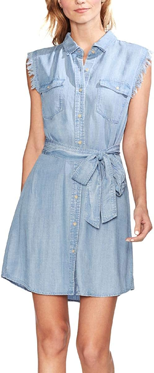 Two by Vince Camuto Sleeveless Two-Pocket Tie Waist Lyocell Shirtdress