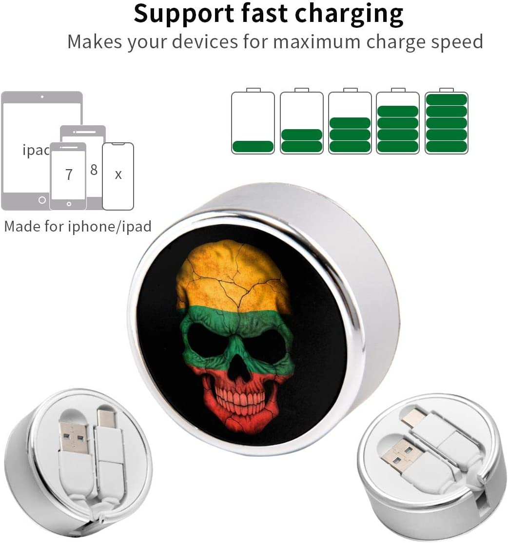 Guyanese Flag Skull Retractable Charging Cord Multi Charger Cable Type C 2 in 1 Charge Adapter
