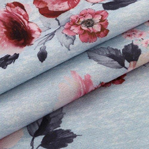 Tefamore Mujeres Casual & Moda flores de impresión suéter encapuchado Gris