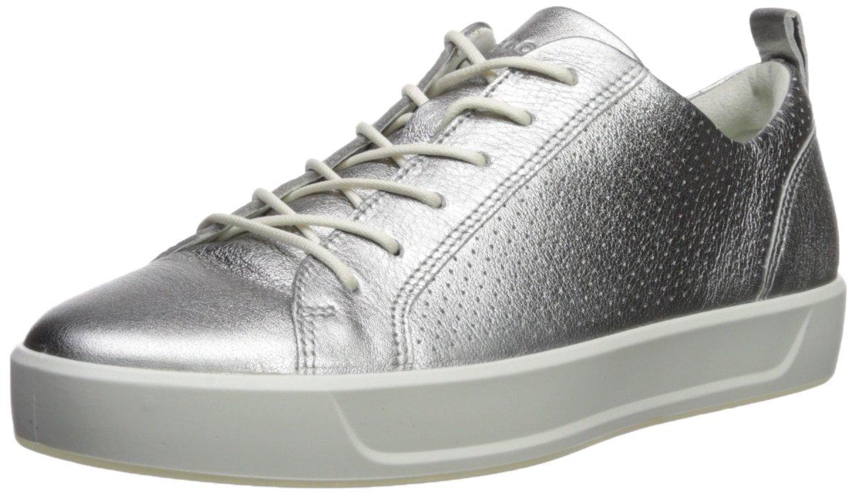 ECCO Women's Women's Soft 8 Perforated Tie Sneaker, Alusilver, 37 M EU (6-6.5 US)