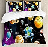 Ambesonne Outer Space Decor Duvet Cover Set, Solar System of Planets Milk Way Neptune Venus Mercury Sphere Horizontal Illustration, 3 Piece Bedding Set with Pillow Shams, Queen/Full, Multi