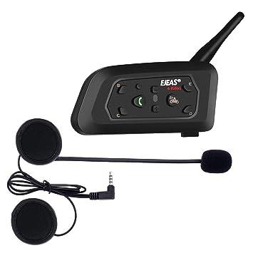 Ejeas V6 Pro Auriculares Intercomunicador Moto Bluetooth para Motocicletas, Gama Comunicación Intercom de 1200m,
