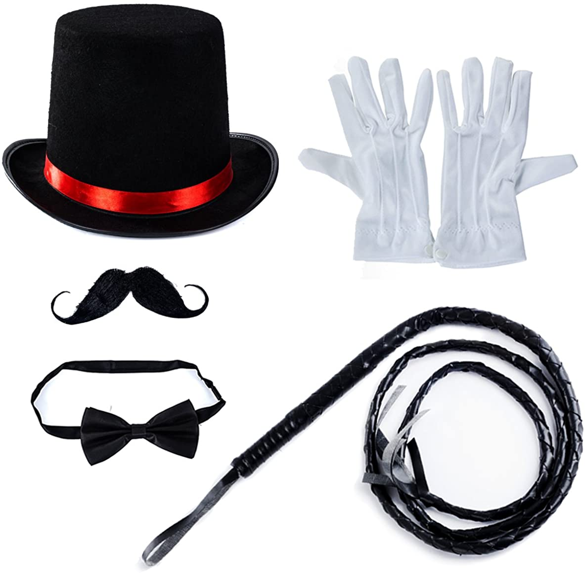 SILVER SEQUIN TOP HAT DANCE CANE BOW TIE FANCY DRESS RINGMASTER CABARET SHOW