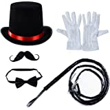 Tigerdoe Ringmaster Costume Accessories - Ringmaster Hat - 5 Accessories - Circus Party Supplies Black