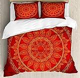 Ambesonne Mandala Duvet Cover Set King Size, Ottoman Motifs Arabic Style Framework Ethnic Design Floral Leaves, Decorative 3 Piece Bedding Set with 2 Pillow Shams, Burgundy Vermillion Apricot