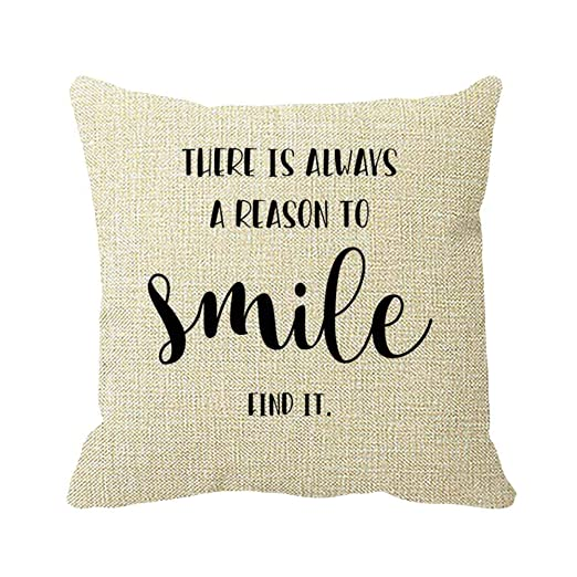 Julyou Smile Word - Fundas de Almohada cuadradas de algodón ...