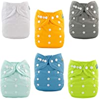 ALVABABY Baby Cloth Nappies One Size Adjustable Washable Reusable for Baby Girls and Boys 6 Pack with 12 Inserts 6BM98…