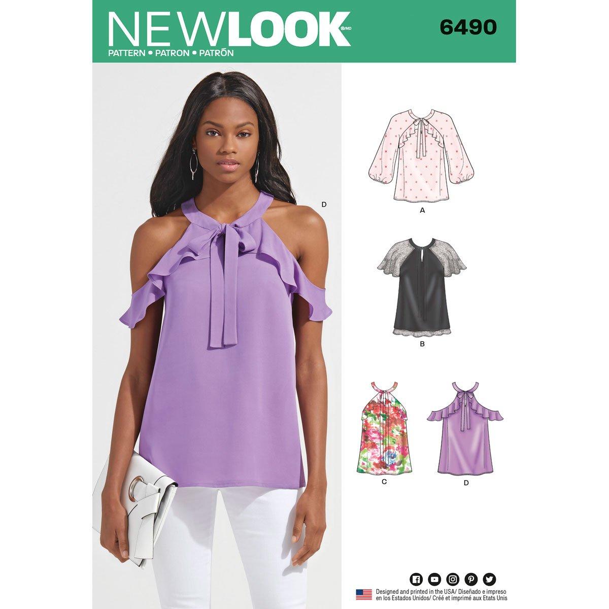 New Look Schnittmuster 6490 Schnittmuster Blusen mit verschiedenen ...