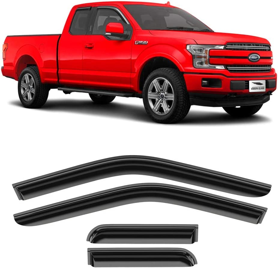 Window Deflectors Voron Glass in-Channel Extra Durable Rain Guards for Trucks Ford F-150 2015-2020 Regular Cab 2 Pieces 210019 Vent Window Visors