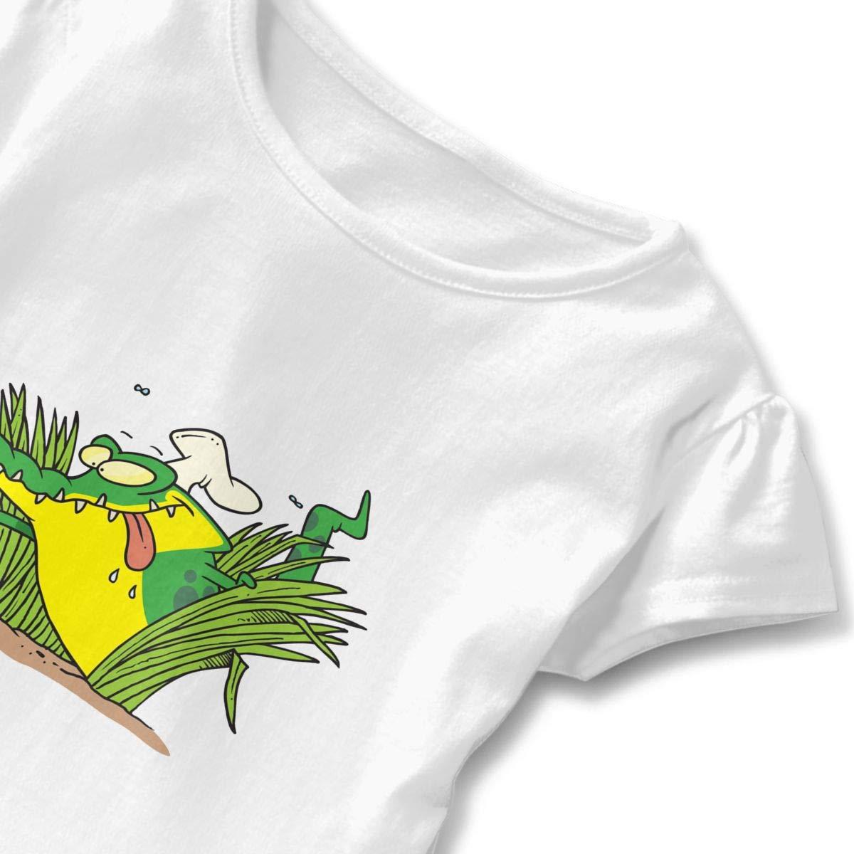 Clarissa Bertha Hungry Crocodile Toddler Baby Girls Short Sleeve Ruffle T-Shirt
