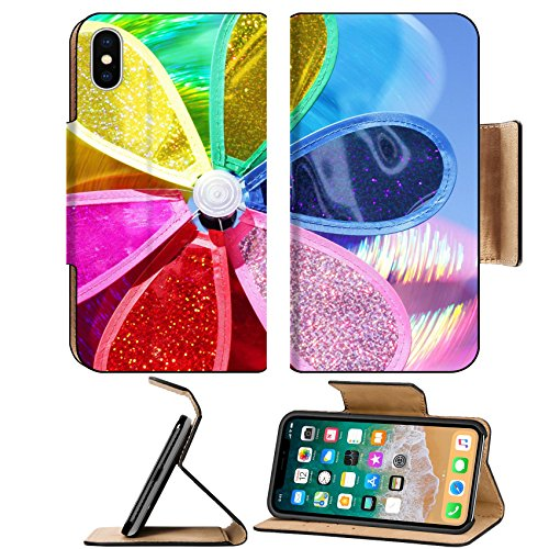 MSD Premium Apple iPhone X Flip Pu Leather Wallet Case Multicolor Pinwheel In Motion IMAGE 29728705 Dish Pinwheel