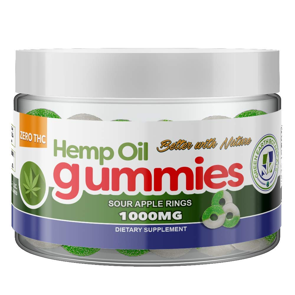 Natural Calm Hemp Oil Gummies - Sour Apple - Stress, Anxiety, Pain Relief, Inflammation :: MCT Oil Packed with Omega 3,6 Fatty Acids :: Sour Apple