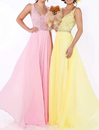 Cloverbridal damska szyfonowa suknia wieczorowa długa wesele dekolt w serek suknia dla panny młodej suknia balowa druhny suknia formalna sukienka na imprezę: Odzież