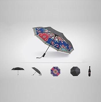 Hzhy Aplicación Inteligente Protector Solar Sombrilla Negra Sombrilla Plegable Doble Sombrilla UV Paraguas (Color :