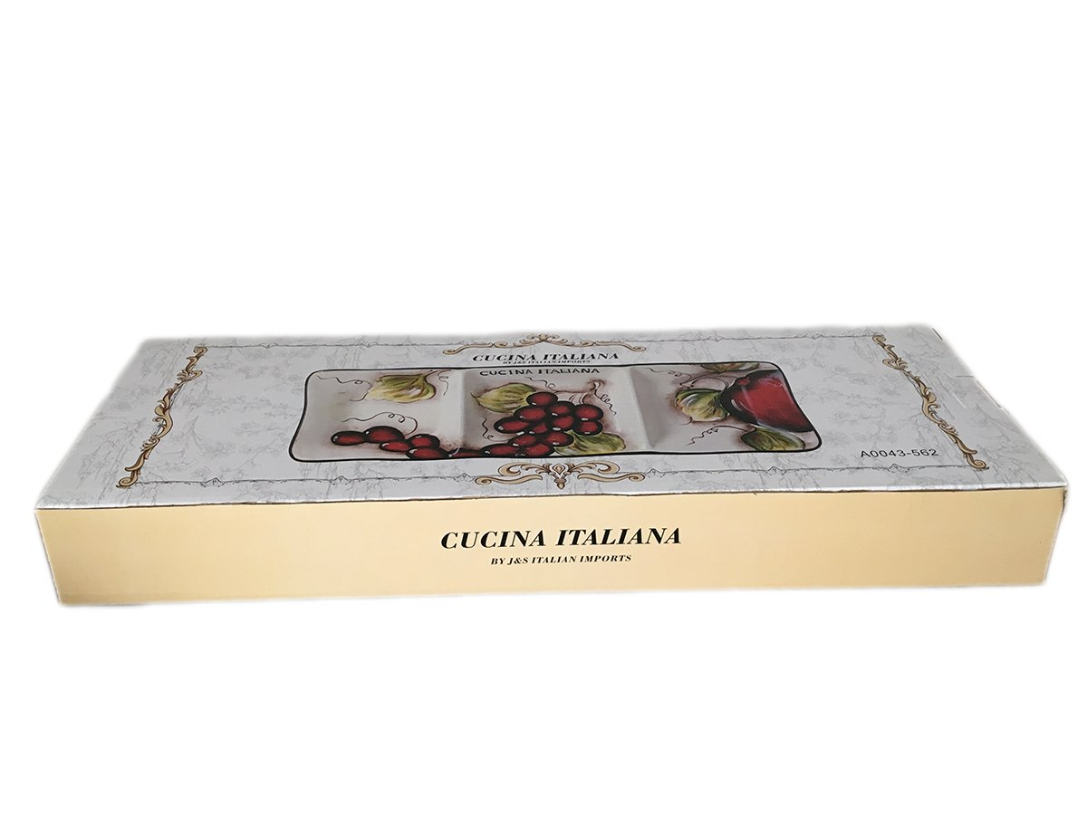 Classic Cucina Italiana Ceramic 3 Section Fruit Design Serving Plate 18'' by BohemianGifts (Image #1)