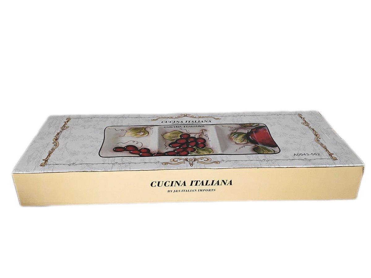 Classic Cucina Italiana Ceramic 3 Section Fruit Design Serving Plate 18''