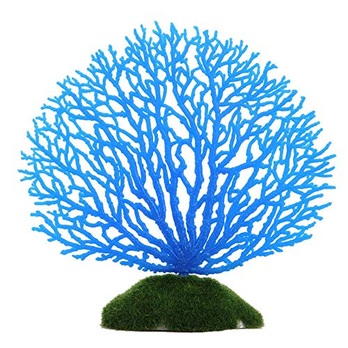 Resin Ornament Sunken Temple - Futemo Artificial Coral Plant, Aquarium Decoration Artificial Coral for Fish Tank Resin Ornaments Fake Plant (Blue)