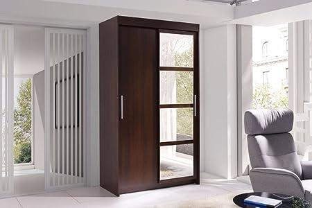 Armario compacto, de Quatro. Puerta corredera con espejo. Acabado color madera wengué (marrón): Amazon.es: Hogar