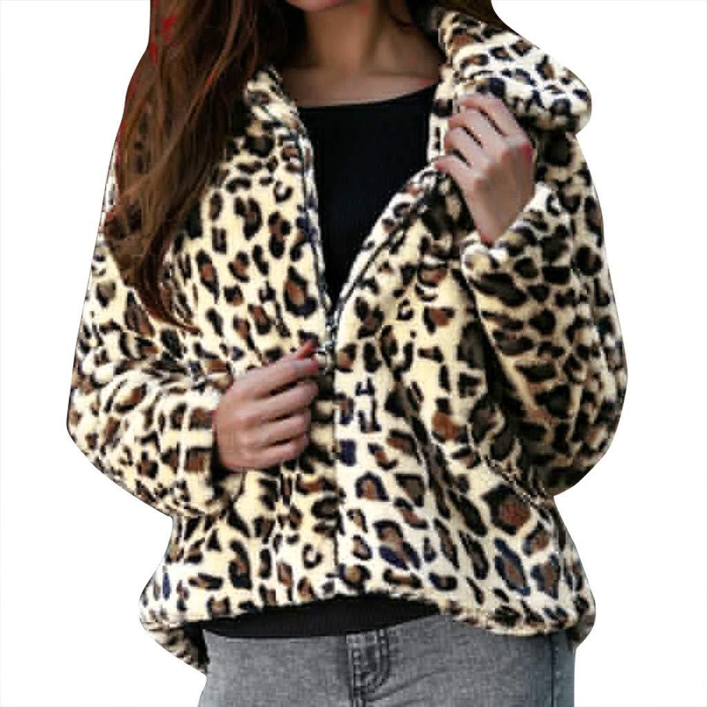 Redacel Fashion Women Plush Coats Leopard Print Long Sleeve Coats Vintage Outwear Zip Tops(XL,Khaki) by Redacel