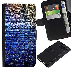All Phone Most Case / Oferta Especial Cáscara Funda de cuero Monedero Cubierta de proteccion Caso / Wallet Case for Sony Xperia Z3 Compact // Cobblestones City Blue Rain Reflection