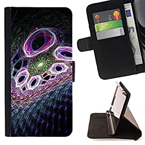 For Apple iPhone 5C Case , Abstract Purple- la tarjeta de Crédito Slots PU Funda de cuero Monedero caso cubierta de piel