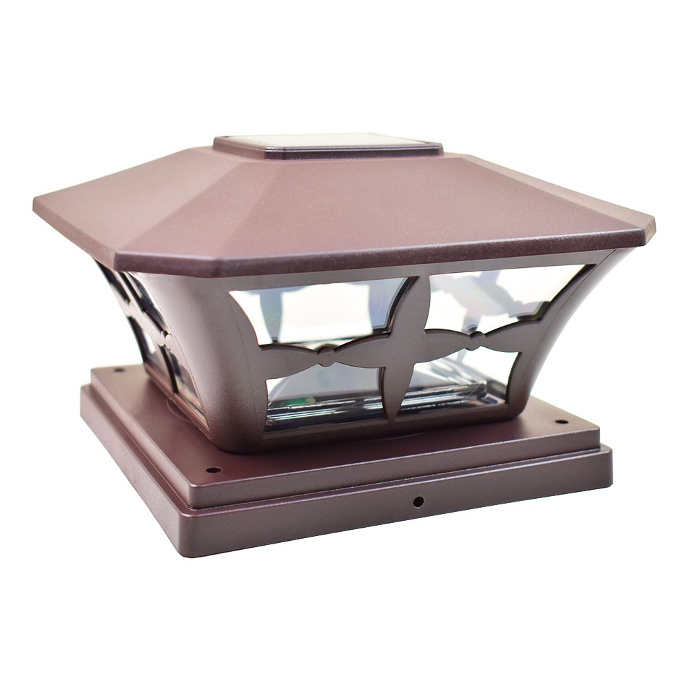 iGlow 1 Pack Brown Outdoor Garden 6 x 6 Solar SMD LED Post Deck Cap Square Fence Light Landscape Lamp PVC Vinyl Wood