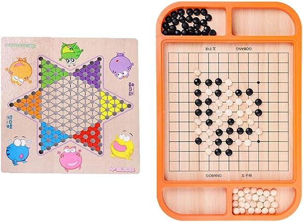 QWEA 2 en 1damas Chinas Gobang Juegos de Mesa multifunción ajedrez Adulto Juguetes educativos de Madera para niños/Incluye 60 de Madera en ajedrez de 6 Colores: Amazon.es: Hogar