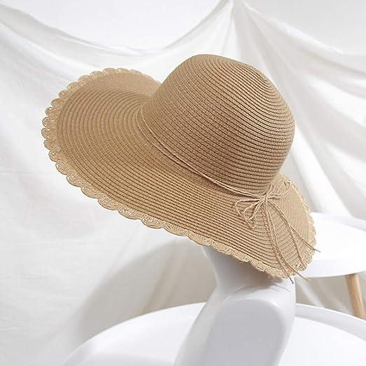 DishyKooker - Gorra de Verano Plegable con Lazo para Playa, Caqui ...