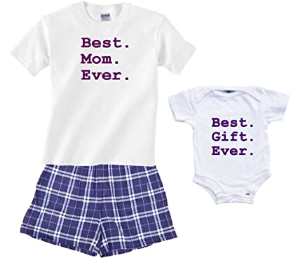 465518fcac3a Amazon.com  Footsteps Clothing Best Mom Ever PJ Boxer Set or Baby ...