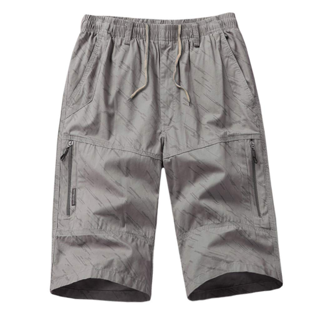 Men's Twill Cargo Shorts | Men Striped Print Straight Relaxed Fit Pants with Zip Pocket | Casual Fitness Workout Trousers