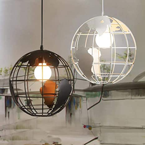 Antigua araña de metal industrial de 1 luz, araña de esfera rústica, iluminación de techo, lámpara de techo para comedor Comedor Vestíbulo del ...
