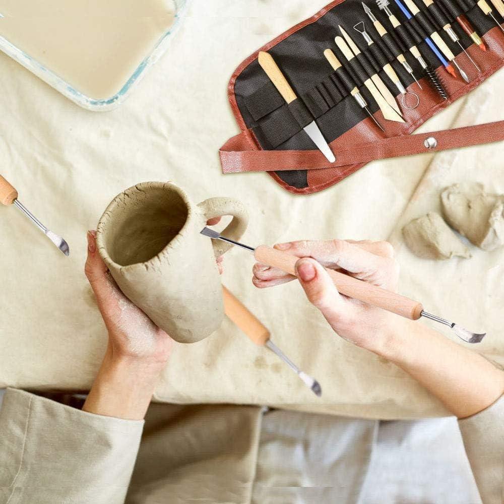FICI 30pcs Pratici Strumenti per smalti ceramici Scultura in Argilla Strumento polimerico Scultura in Ceramica///Kit Intagliato per/levigare la Ceramica/ 11 Pezzi Senza Sacchetto