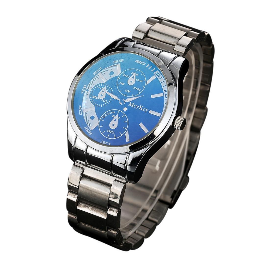 Sinma Simpleブレスレットウォッチオスアナログカジュアル腕時計ステンレスバンドクオーツ腕時計for mcykcy ブルー B0713T8NTK ブルー ブルー