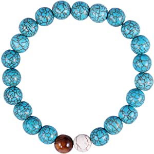 Il Signor Mens Coral and Turquoise Stones Points on Turquoise Bracelet, 17 cm