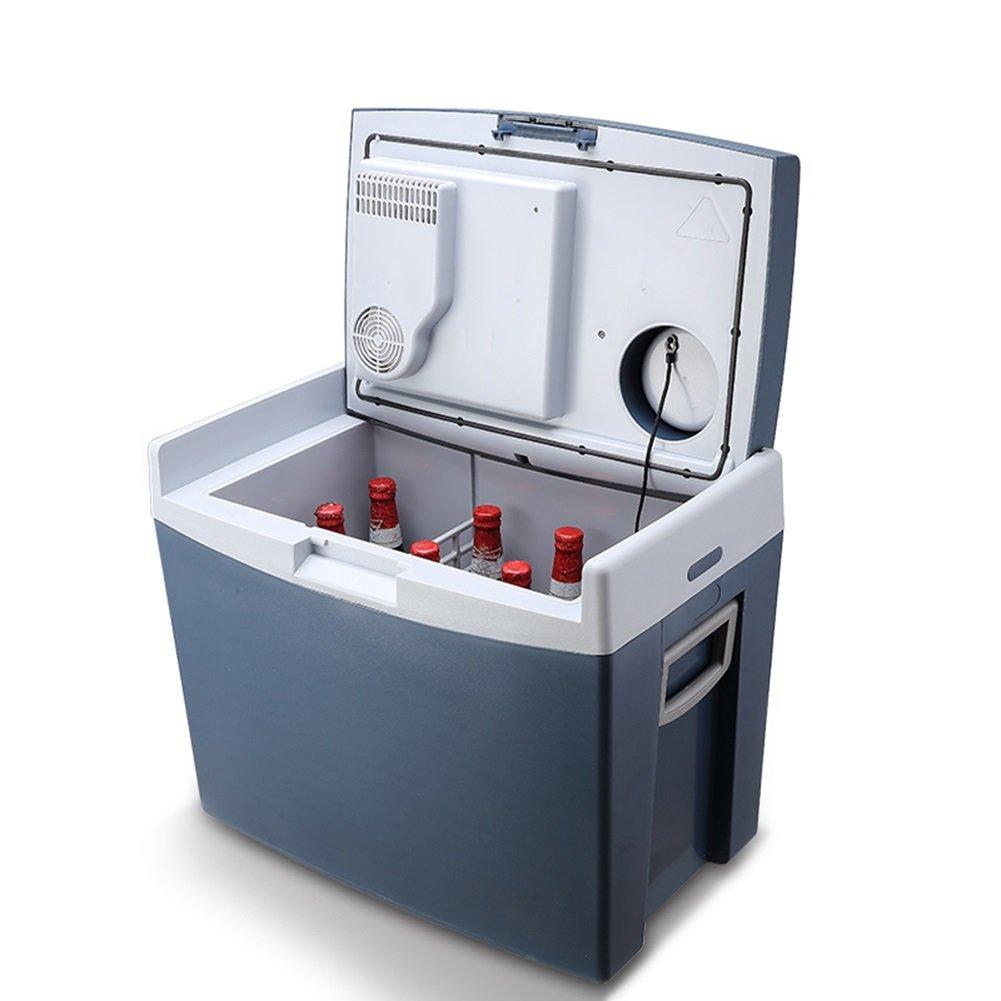 LIQICAI 35L Tragbar 2 Stabile Räder Elektrische Kühlbo Minikühlschrank Hitze Und Cool 12V DC (Auto) Camping (Farbe : Dunkelblau)