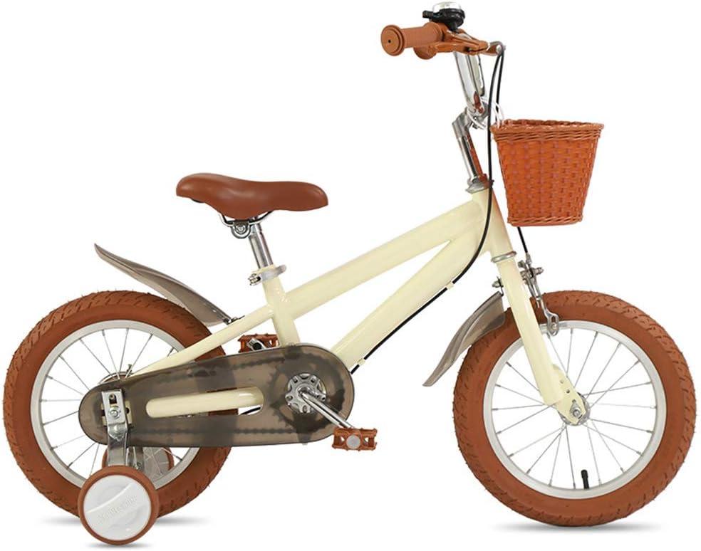 Kids Bikes Bicicleta Infantil Chico 14 16 18in con Ruedas De Entrenamiento Freno En V Niña Princesa 3 4 7 Años Ajustable Bicicleta para Niños Color Múltiple con Cesta(Size:14in,Color:Amarillo)
