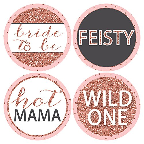 Bride Squad - Rose Gold Bridal Shower or Bachelorette Party Funny Name Tags - Party Badges Sticker Set of 12 Photo #3