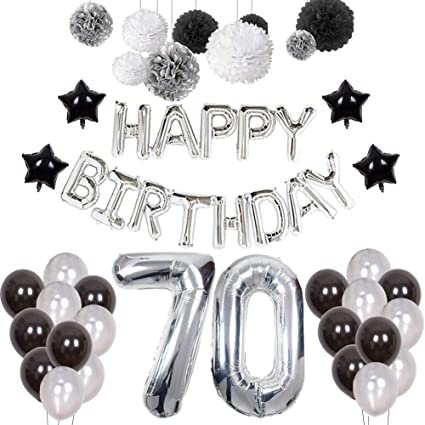 6 x 70th Birthday Balloons Black Silver Gold Party Decorations Age 70 Balloons