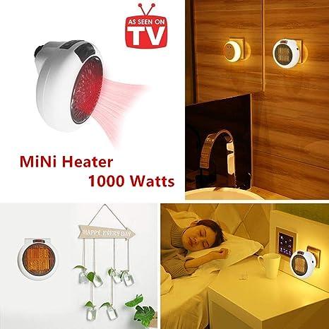 Calefactor Portátil Handy Heater 1000W Bajo Consumo Temperatura Regulable Baño Casa Oficina Enchufe UE (Blanco)