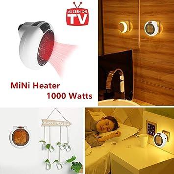 Calefactor Portátil Handy Heater 1000W Bajo Consumo Temperatura Regulable Baño Casa Oficina Enchufe UE (Blanco): Amazon.es: Bricolaje y herramientas