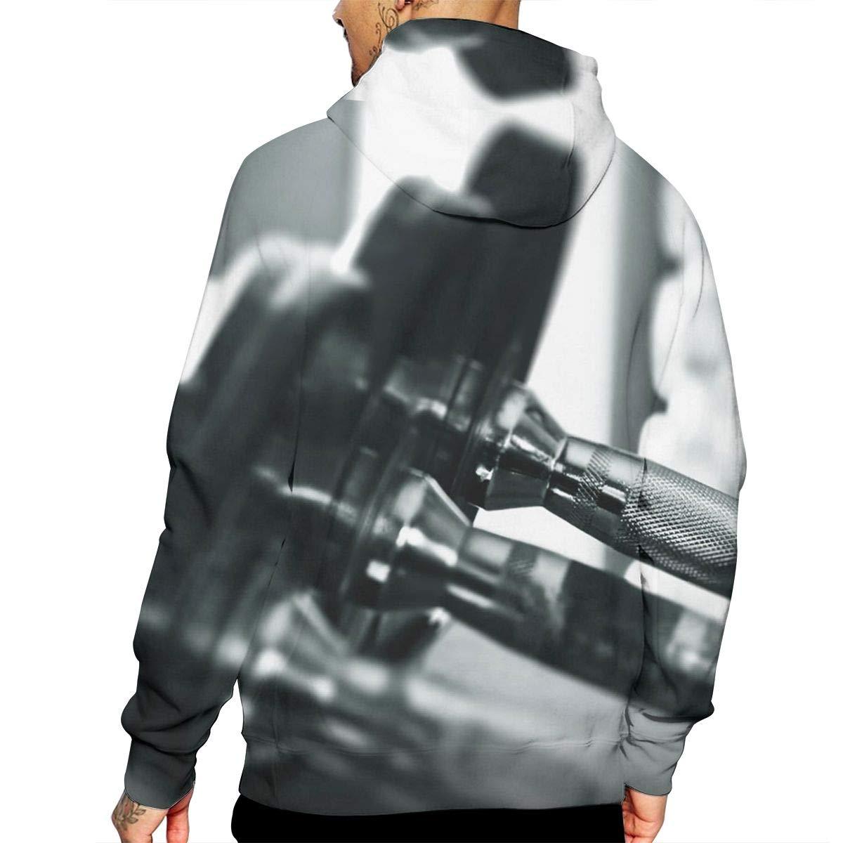 YUANSHAN Fitness Barbell Mans Long Sleeve Hoodie Casual Pocket Hooded Sweatshirt