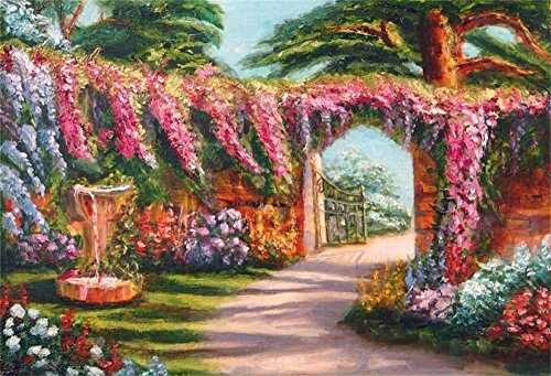 7x5FT Flamingo Laeacco Vinyl Photography Colorful Oil Painting Flowers Garden Fairytale Fountain Arched Gate Trees Scenerey Art Background Festive Party Birthday Photo Portrait - Fountain Gate Map