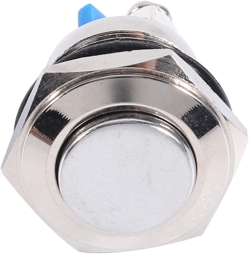 Interruttore a pulsante per clacson per auto 12V 16mm Pulsante momentaneo in metallo impermeabile per auto ON OFF Interruttore clacson Argento