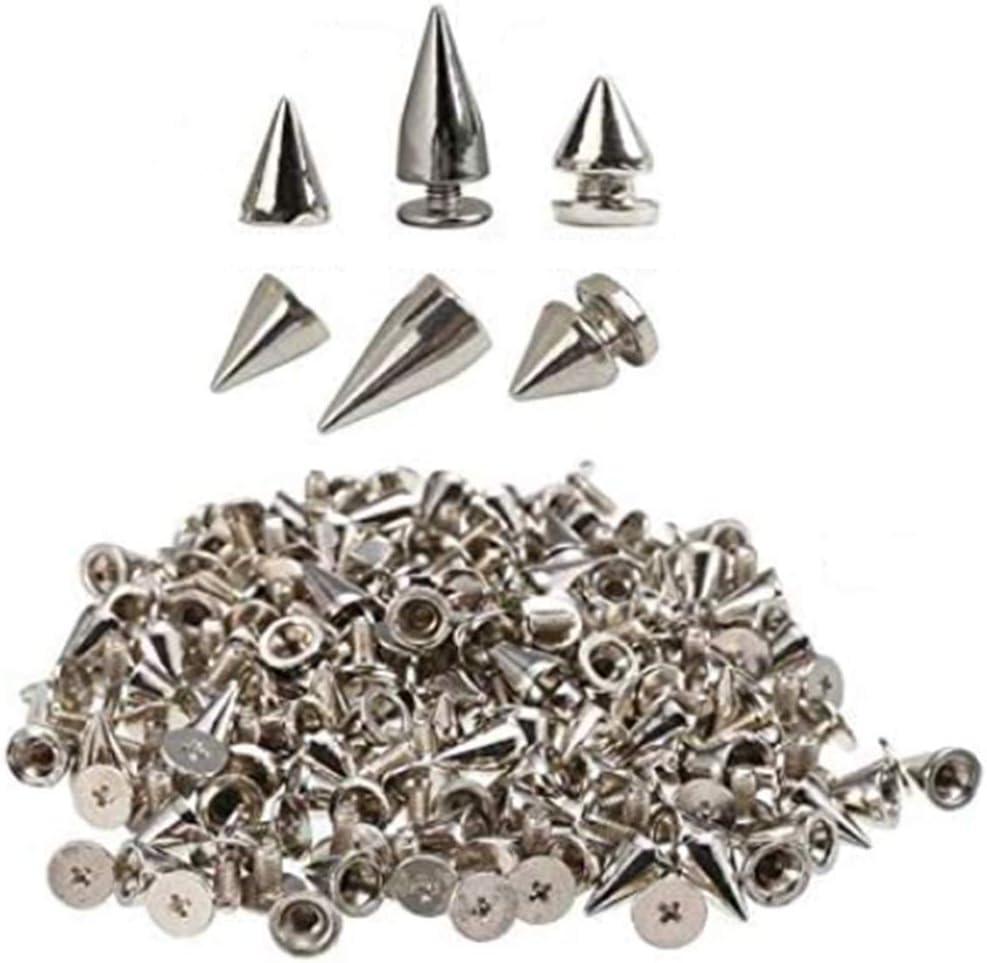 Anyasen Remaches tachuelas para ropa con pinchos cónicos y tornillos traseros de metal para proyectos y manualidades con ropa de piel 150 Piezas