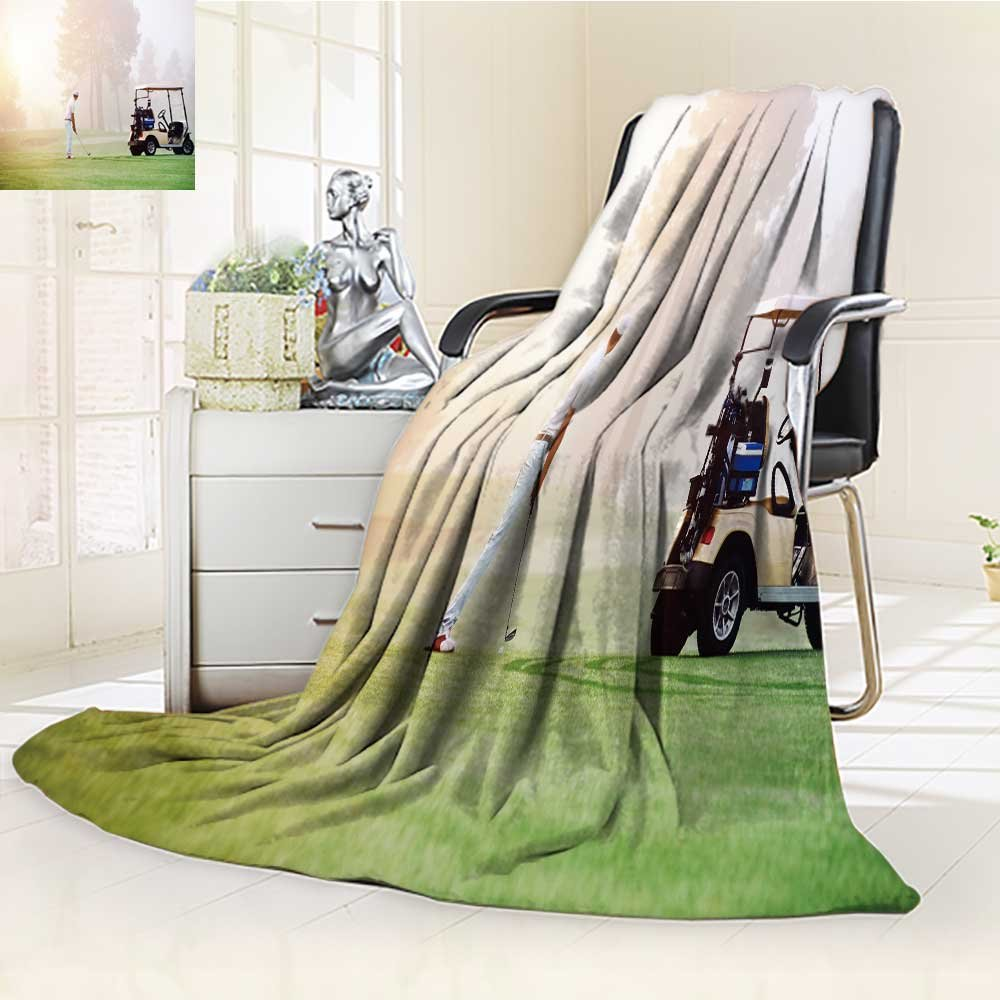 DOLLAR Blanket,golfer lining up shot with iron club on golf course in fairway at sunrise Traveling, Hiking, Camping, Full Queen, TV, Cabin, Couch, Bed Throw(60''x 50'')