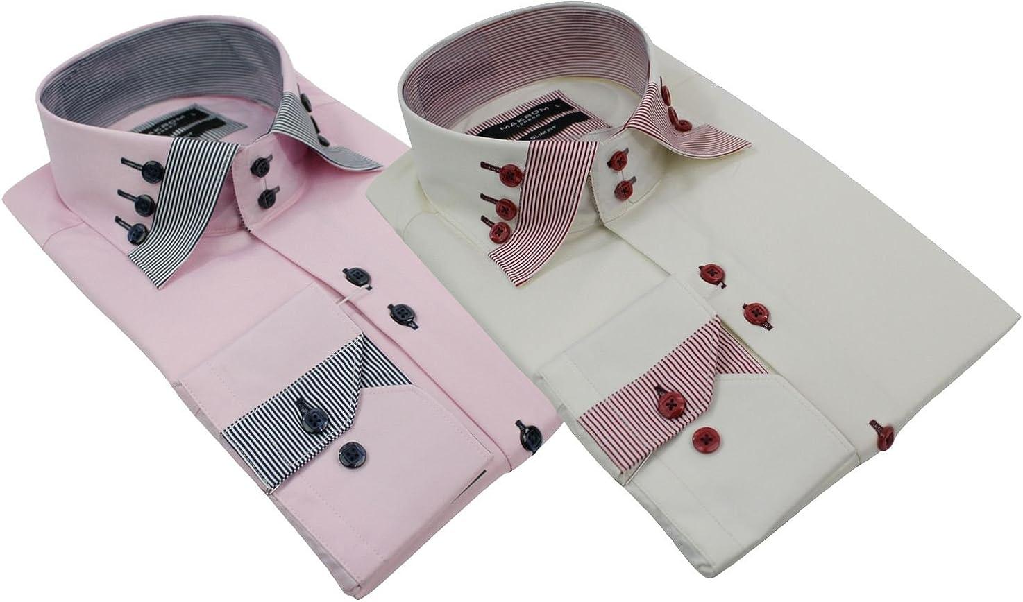 Hombre italiano Triple botón cuello camisa Slim Fit Rosa Granate & Beige y Negro Marfil blanco crema large: Amazon.es: Ropa y accesorios