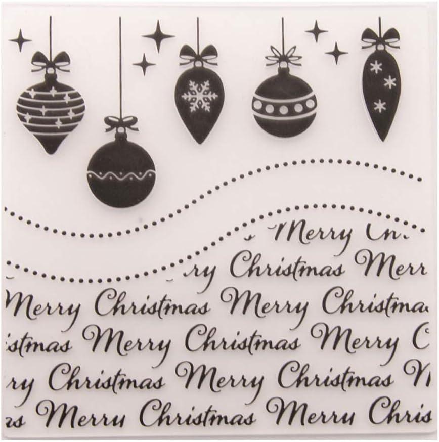 JERKKY Embossing Folder,Merry Christmas Plastic Embossing Folder Template DIY Scrapbook Photo Album Card