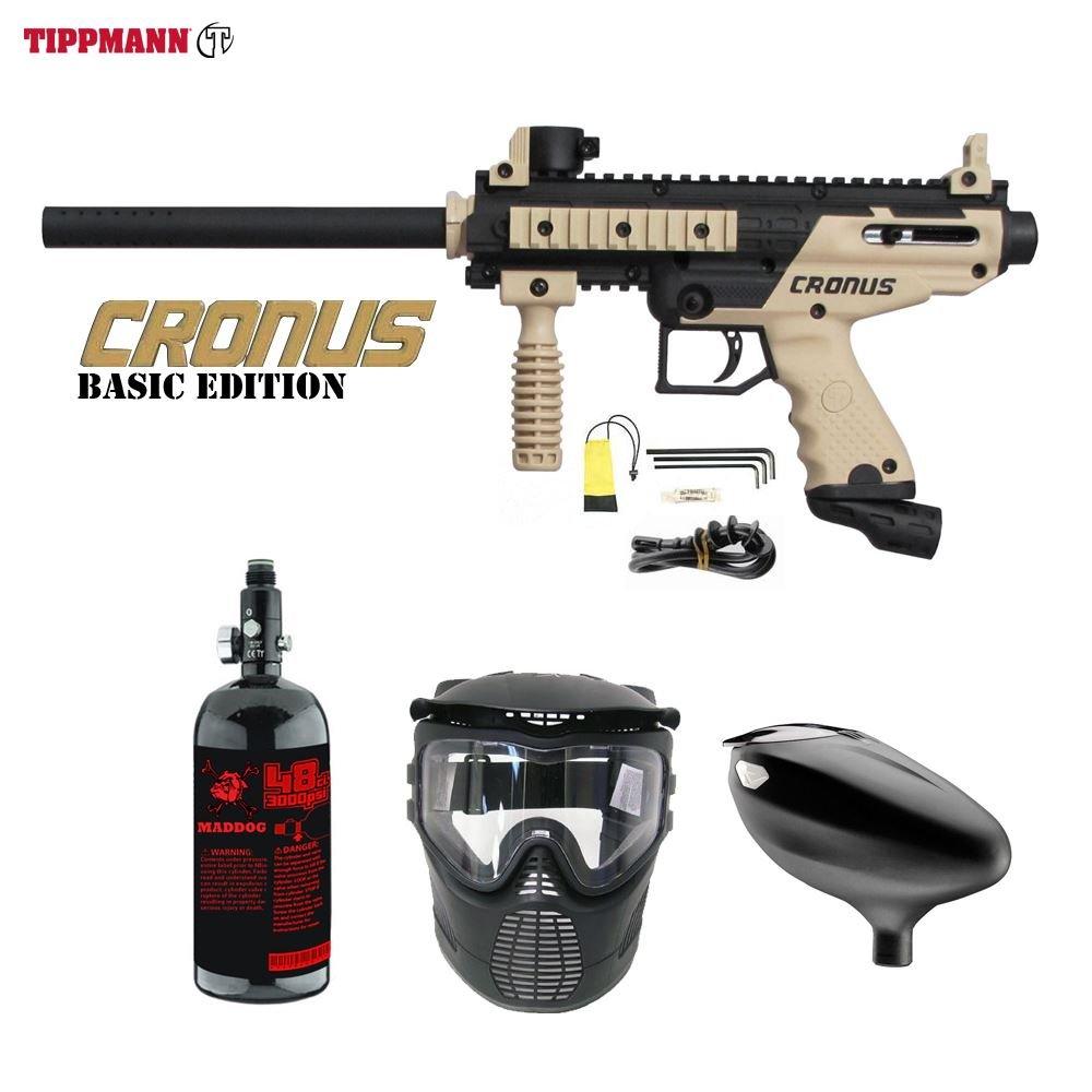 Maddog Tippmann Cronus Beginner HPA Zephyr Paintball Gun Package - Black/Tan by Maddog