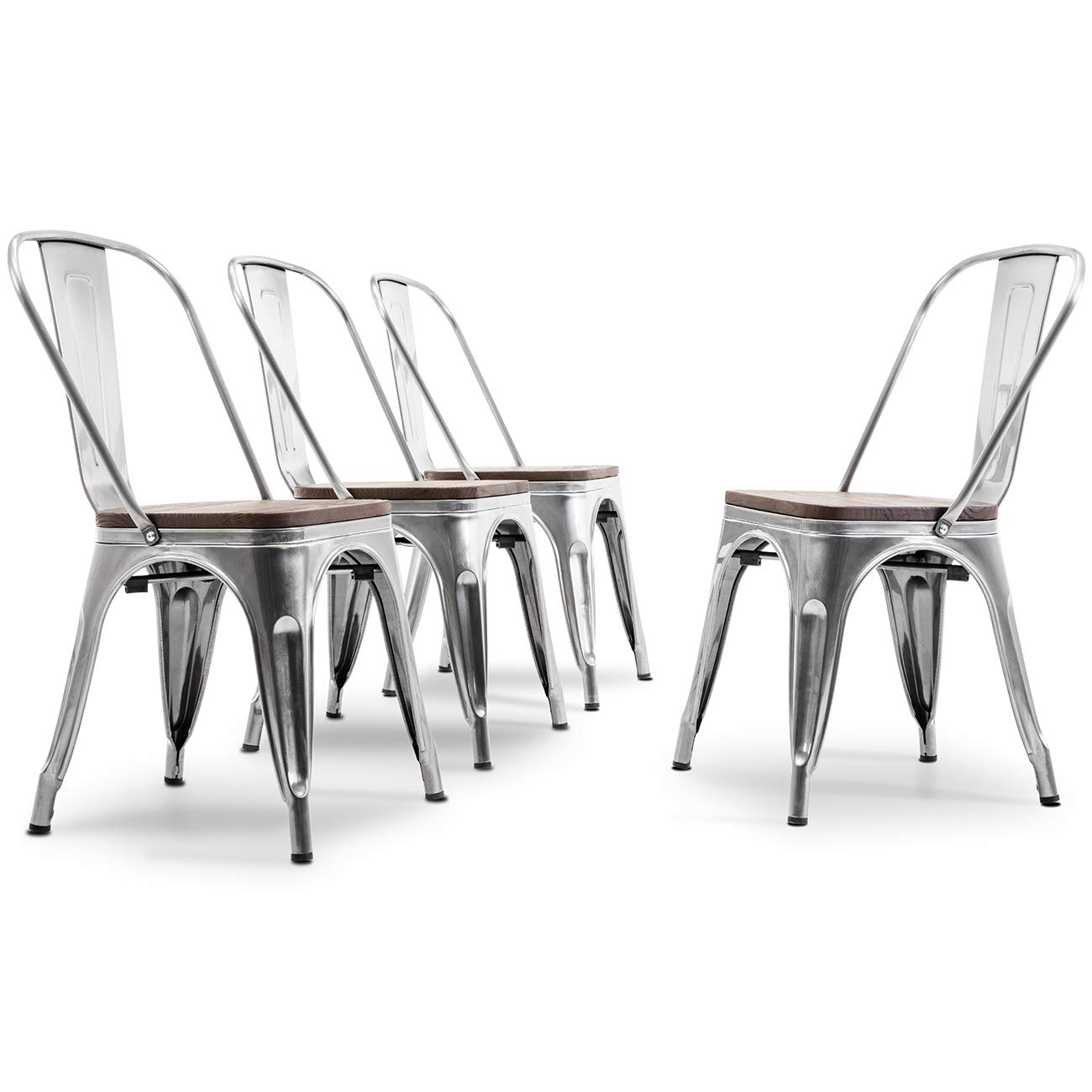 BELLEZE Set of 4 Dining Chairs Backrest Modern Stackable w Wood Seat Stool, Gunmetal