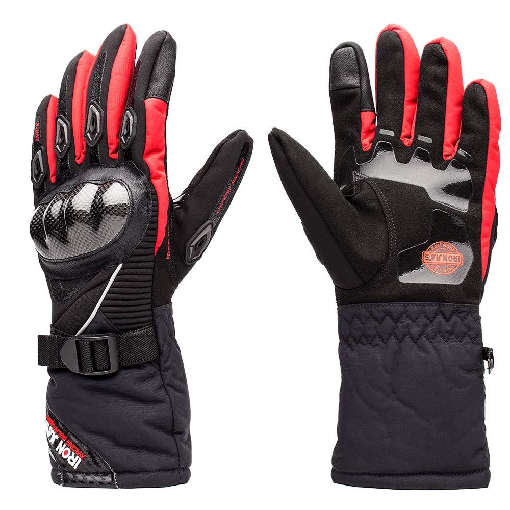 Gants de Moto 100/% imperm/éable /à leau Hiver Chaud Gants de Moto en Fibre de Carbone Knuckle avec Fonction /écran Tactile pour Hommes Femmes